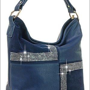Four Square Design Hobo Handbag - Blue
